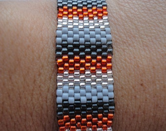 Seed Bead Bracelet, Peyote Stitch, Delica, Stripes, HD, Davidson inspired, Halloween, Grey, Black, Orange, Metallic, Silver, Gray