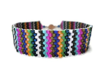 Seed Bead Bracelet, Peyote Stitch, Delica, Stripes, Colorful, Rainbow, Mixed, New York, Fashion Week, 2012, Spring, Pantone, Green, Blue