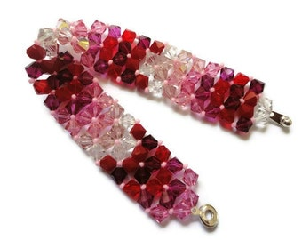 Swarovski Crystal Bracelet, Seed Bead, Right Angle Weave, Chevron, Siam, Rose, Red, Pink, Fuchsia, Clear, Rows, Love, St Valentines Day