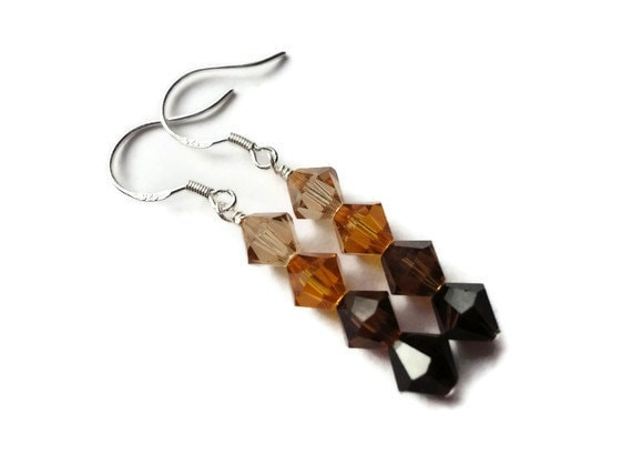Swarovski Crystal Earrings, Sterling Silver, Wire Wrapped, 6mm, Fall, Autumn, Mocca, Topaz, Light Smoked Topaz, Tan, Brown, Earthy