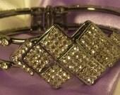 White Crystal Metal Diamond Panel Bracelet by Posh n' Petals on Etsy