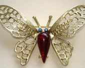 Vintage Red Rhinestone Jelly Belly Butterfly Brooch / Pin   FREE SHIPPING