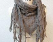 Wool Wrap Warmer Shawl Grey Color