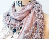 The Crinkle Cotton with Lace Trimming Scarf, Light gray color.