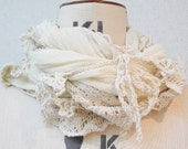 The Light Yellow crinkle cotton sheer with crochet scarf