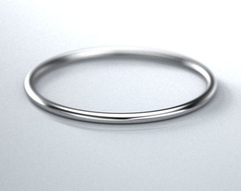 14k womans gold round wire 18 ga 1mm ring