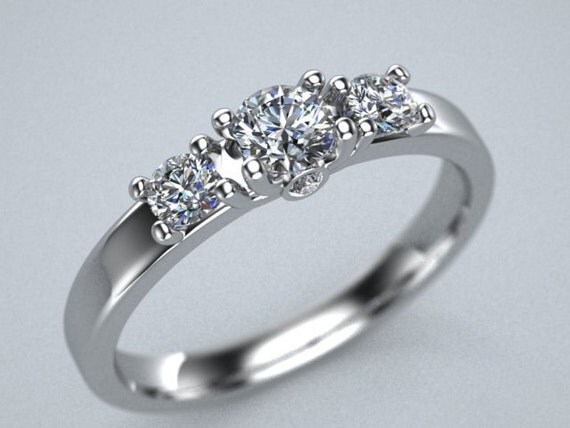 Ladies Sterling SIlver 5 stone cubic zirconia ring thin and elegant