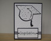 Congratulations Graduate in black and white, Handmade Card
