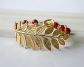 Cyber Monday Etsy - Bright Brass Gold Roman Leaf Bracelet - Red Coral Beads and Toggle Clasp
