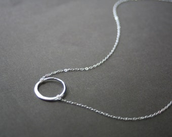 Silver Circle Necklace - Sterling Silver Circle - Simple Necklace - Everyday Jewelry - Dainty Necklace - Everyday Necklace - Circle Necklace