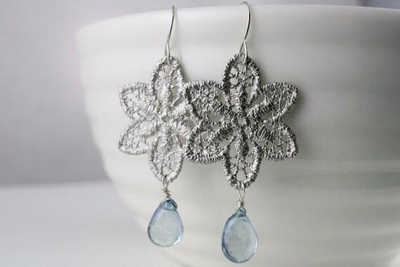 SALE Silver Lace and Blue Mystic Quartz Sterling Earrings