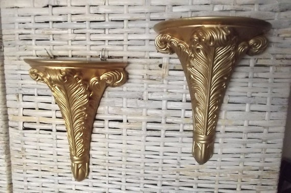 Pair of Gold Hollywood Regency Style Chalkware Wall Sconces / Shelves///Sale