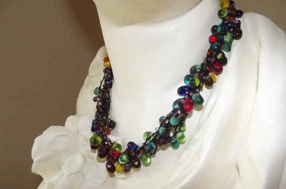 Vintage glass bead necklace////SuperSale