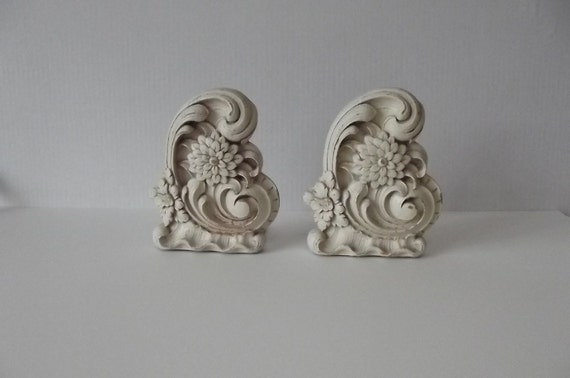 Pair of Shabby Chic Scrollwork Syroco Wood Bookends////Sale
