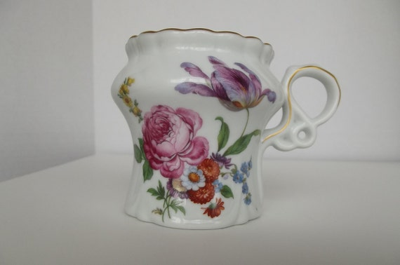 Limoges Gold Trimmed Porcelain Moustache Cup with Flowers on Side///Supersale