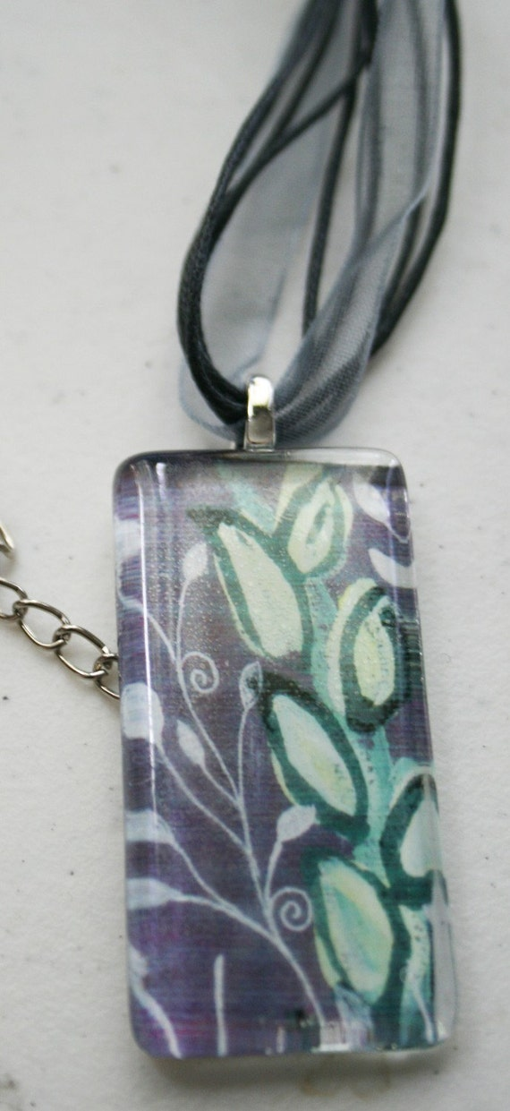 Tranquility Pendant: Rectangle (purple & green leaves)