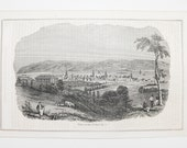 Wabash River View Indiana Antique 1848 Engraving