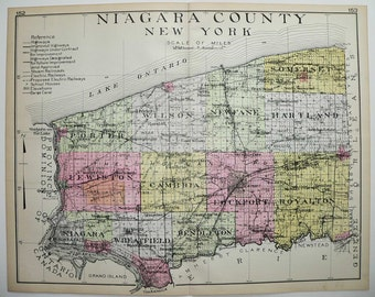 Large Vintage Map Niagara County New York Map, 1912 Large Map, NY County, Historical Map, Genealogy Research, Niagara Falls, Art Map Gift
