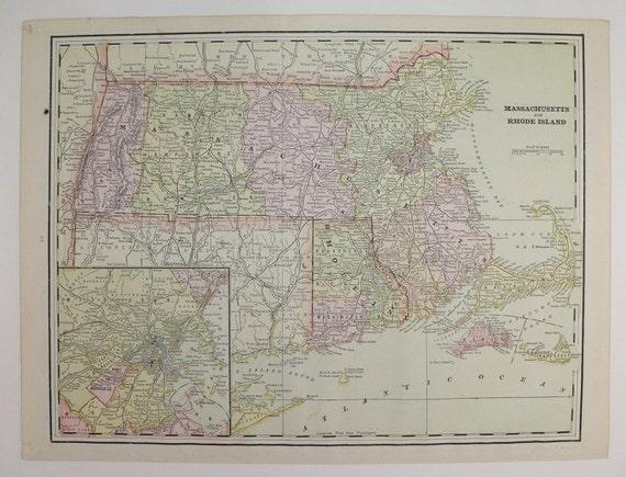 Massachusetts Rhode Island Vermont New Hampshire Old 1891 Map