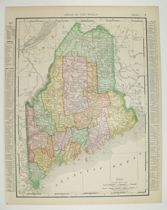 1898 Maine Map, New Hampshire, New England State Map, Vintage Geography Art, Original 1800s Map, Birthday Gift Idea, New Home Gift