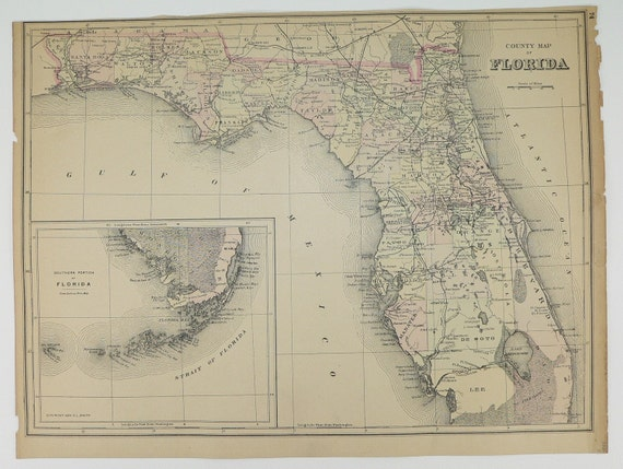 Florida Antique 1894 Handcolored County State Map