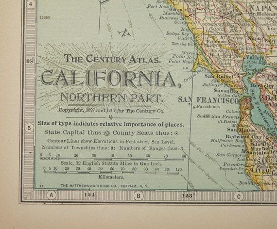 Northern California Antique 1911 Map San Francisco Yosemite Valley