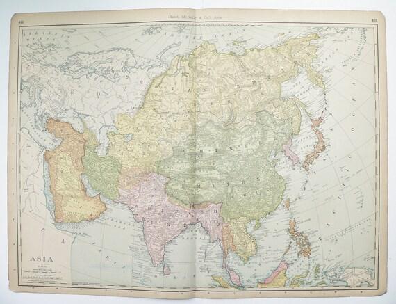 Asia 1901 Very Large Antique Map China Japan India Iraq Iran Afghanistan Anam Siberia Turkey Saudi Arabia