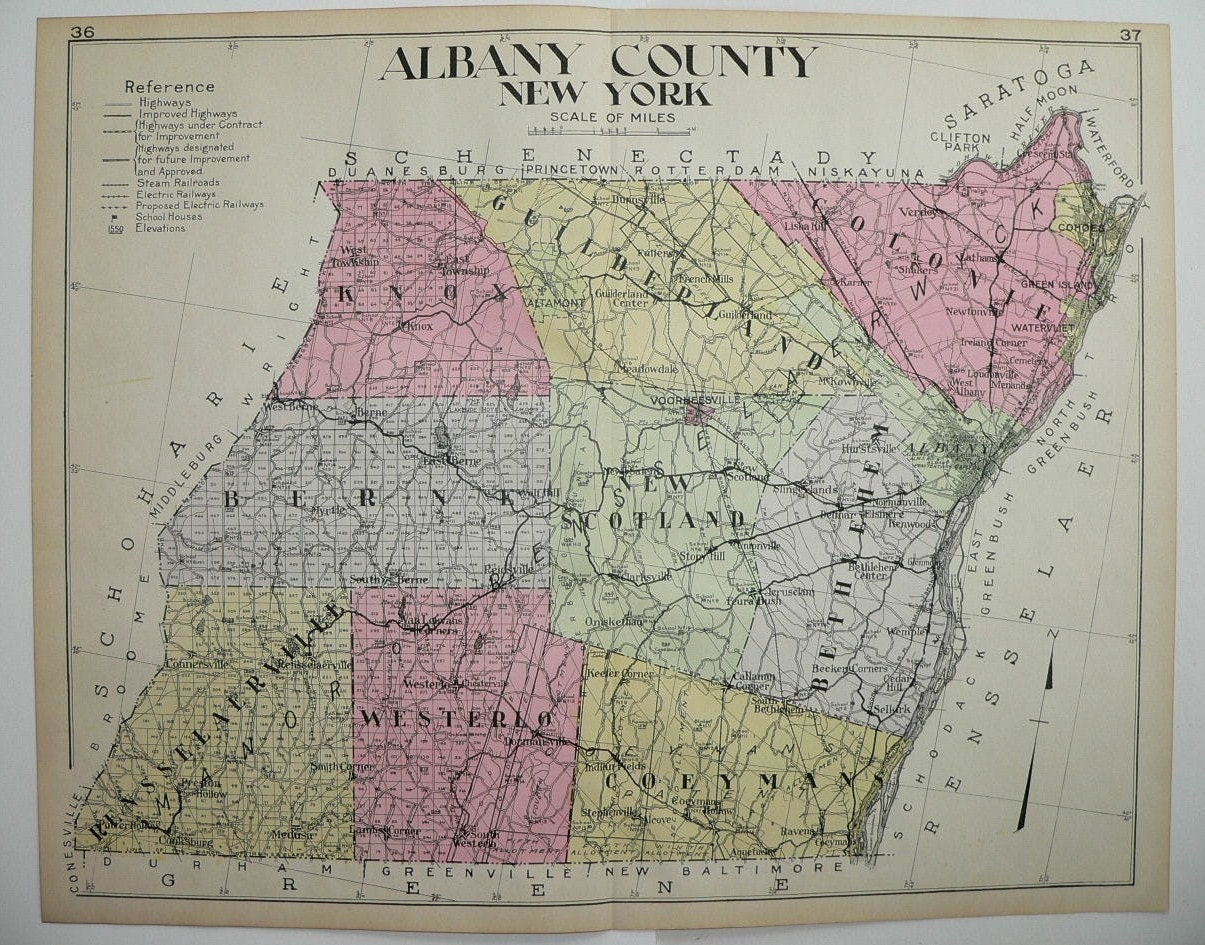 Antique Albany County NY Map Large Map New By OldMapsandPrints