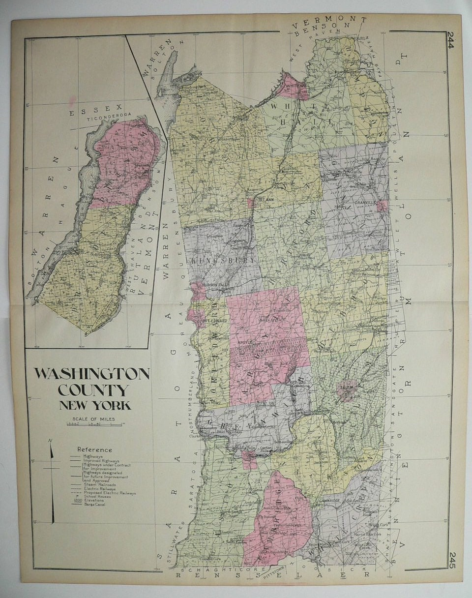 Antique Washington County NY Map Large Map New By