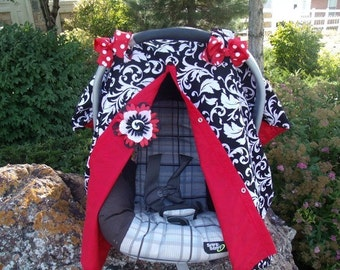Car seat canopy / girl car seat cover / scroll print / black and red / car seat cover / nursing cover / carseat canopy / carseat cover