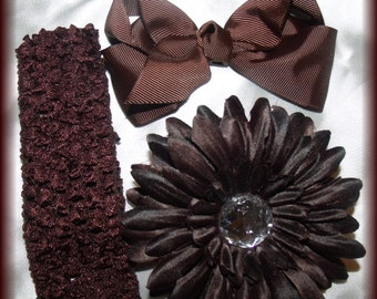 Brown hairbow flower clip and headband set