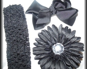 BLACK Hair bow ... Flower Clip and Crochet Headband Set ...Dazzle your little Princess Today