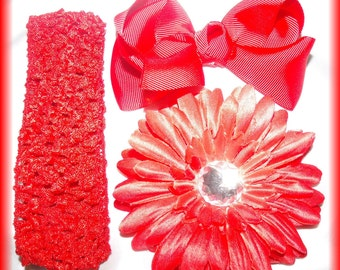 RED Flower Clip..Hair Bow.and Cochet Headband Set ....Dazzle Your Princess