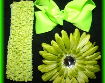 boutique hairbow hair flower clip and headband set Lime