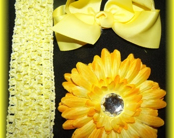 Yellow baby hairbow flower clip and headband set