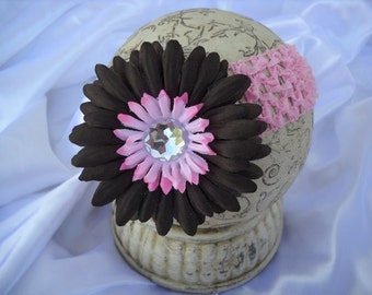 Daisy Clip..Pink and Brown Interchangeable Flower Clip and Interchangeable Headband