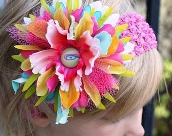Baby girl hair flower clip and crochet headband set