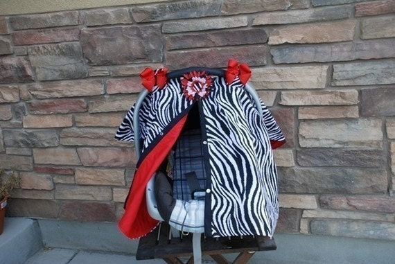 Zebra Print and Red Carseat Canopy and Nursing Cover