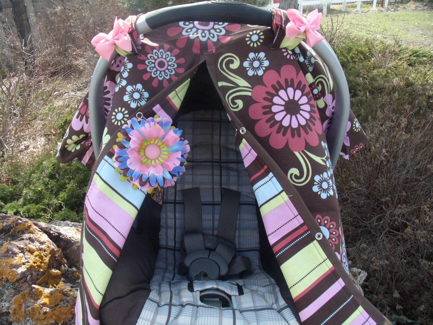 girl car seat canopy reversable infant carseat cover carseat. Black Bedroom Furniture Sets. Home Design Ideas