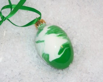 Hand painted glass egg ornament E14