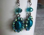 Teal Vintage Style Earrings