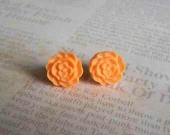 Orange Flat Rose Earrings
