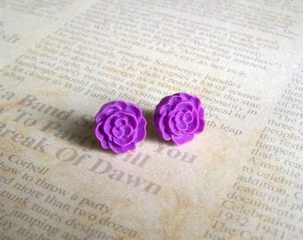 Plum Flat Rose Earrings