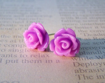 Lavendar Rose Earrings