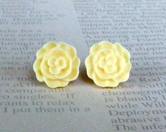 Yellow Flat Rose Studs