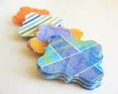 """60 Square Bracket Tags Set Size 1 1/4""""- In 3 differents paper patterns Blue and Orange Shades"""