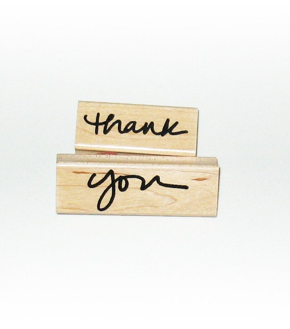 ON SALE Thank you Rubber Stamp mounted cursiva print