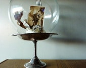 RESERVED FOR SARAH Vintage Glass Wonder Ball and Silver Pedestal Display