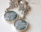 Backyard Angel - Silver Glow - Photograph earrings - original photography