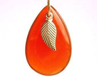 Carnelian Leaf Drop Necklace